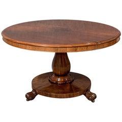 Antique Rosewood Circular Dining Table, English Regency, circa 1830