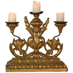 18th Century Italian Giltwood Baroque Candleholder or Candlestick