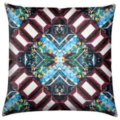 Curitiba Print Aqua Tourmaline Pillow by Lolita Lorenzo Home Collection, 2017