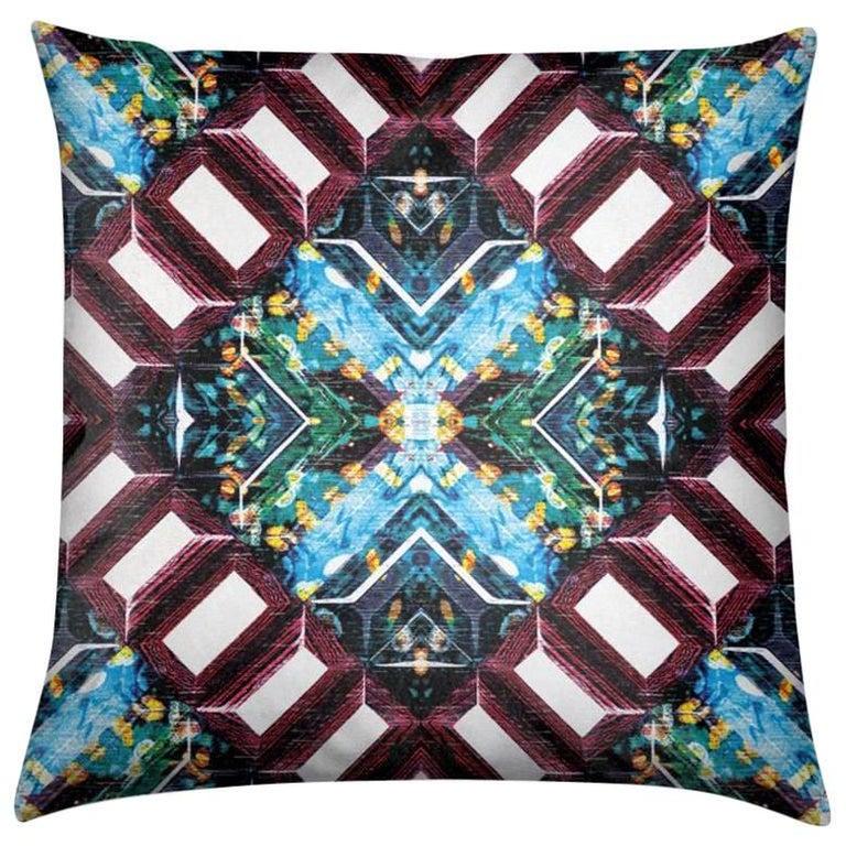 Curitiba Print Aqua Tourmaline Pillow by Lolita Lorenzo Home Collection, 2017 For Sale