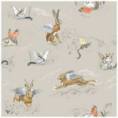Winged Hare, Hedgehog and Dormouse, Wallpaper from the for the Very Young