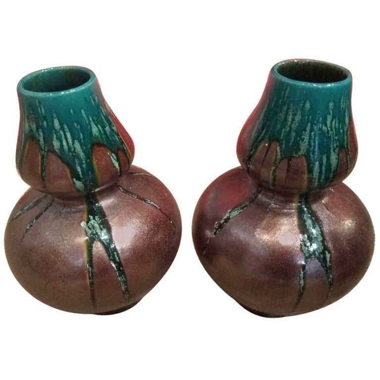 Pair of Iridescent Vases Mounted in Lamps, circa 1900/1920