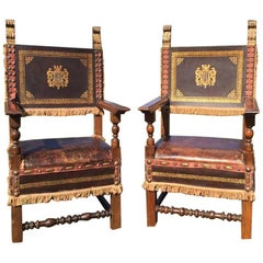 Super Dramatic Pair of Antique French Leather and Walnut Throne Chairs