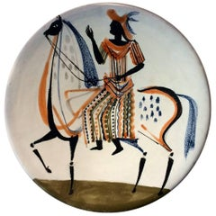 Roger Capron Large Ceramic Dish with Stylised Figure, 1950s