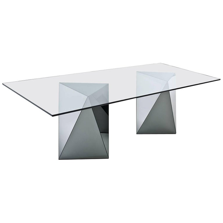 Yan Dining Table in Glass Mirrored or Smoked by Gallotti  : 8470253master from www.1stdibs.com size 768 x 768 jpeg 19kB