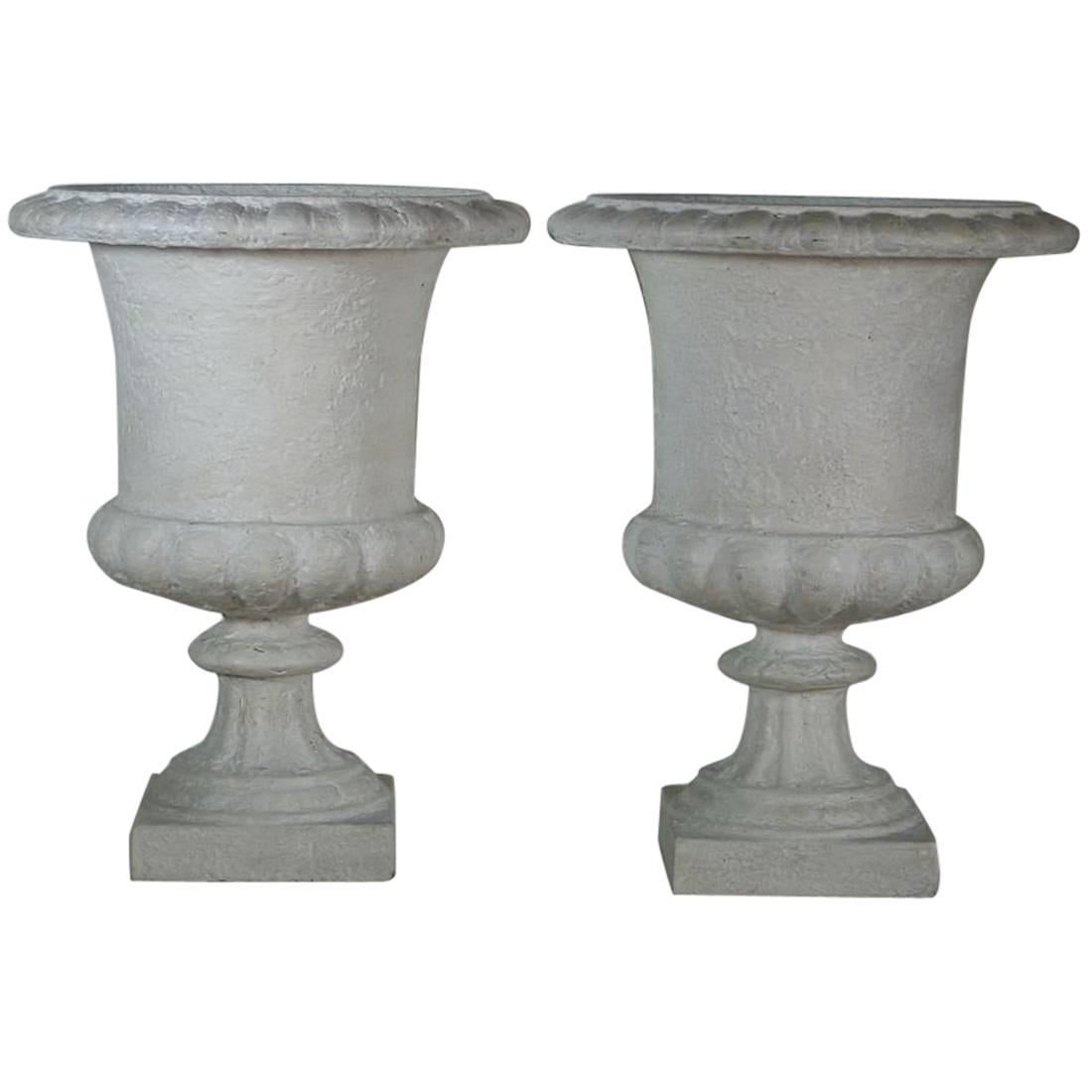 Pair Of French 19th Century Cast Iron Garden Urns, Vases For Sale