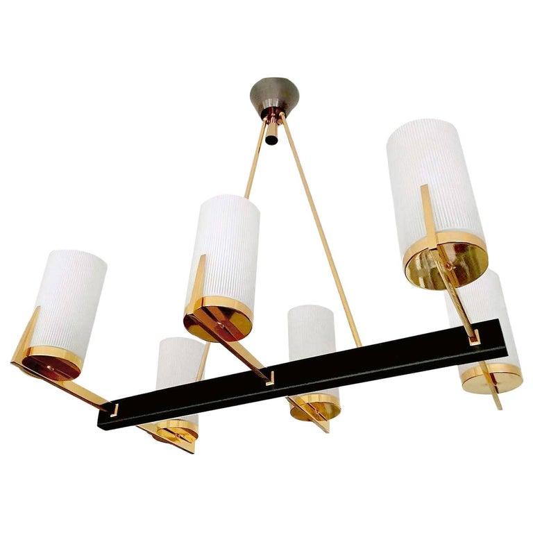 Large Modernist   Linear Glass Brass  Maison Arlus Chandelier, Stilnovo Style