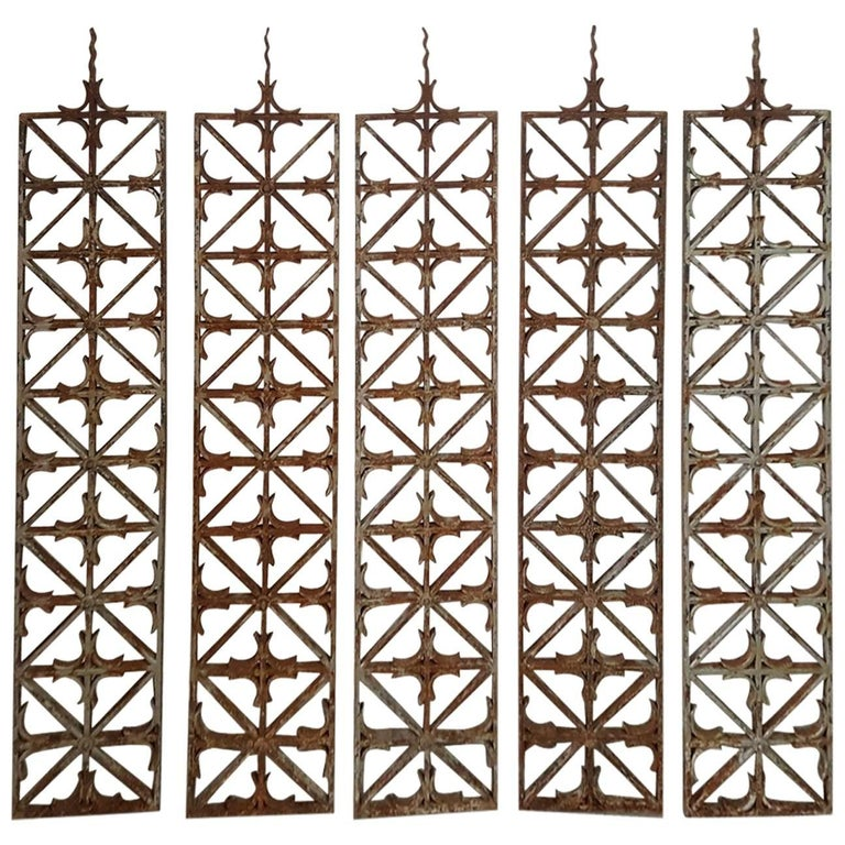 Set of five mid century wrought iron panels for sale at 1stdibs - Wrought iron decorative wall panels ...