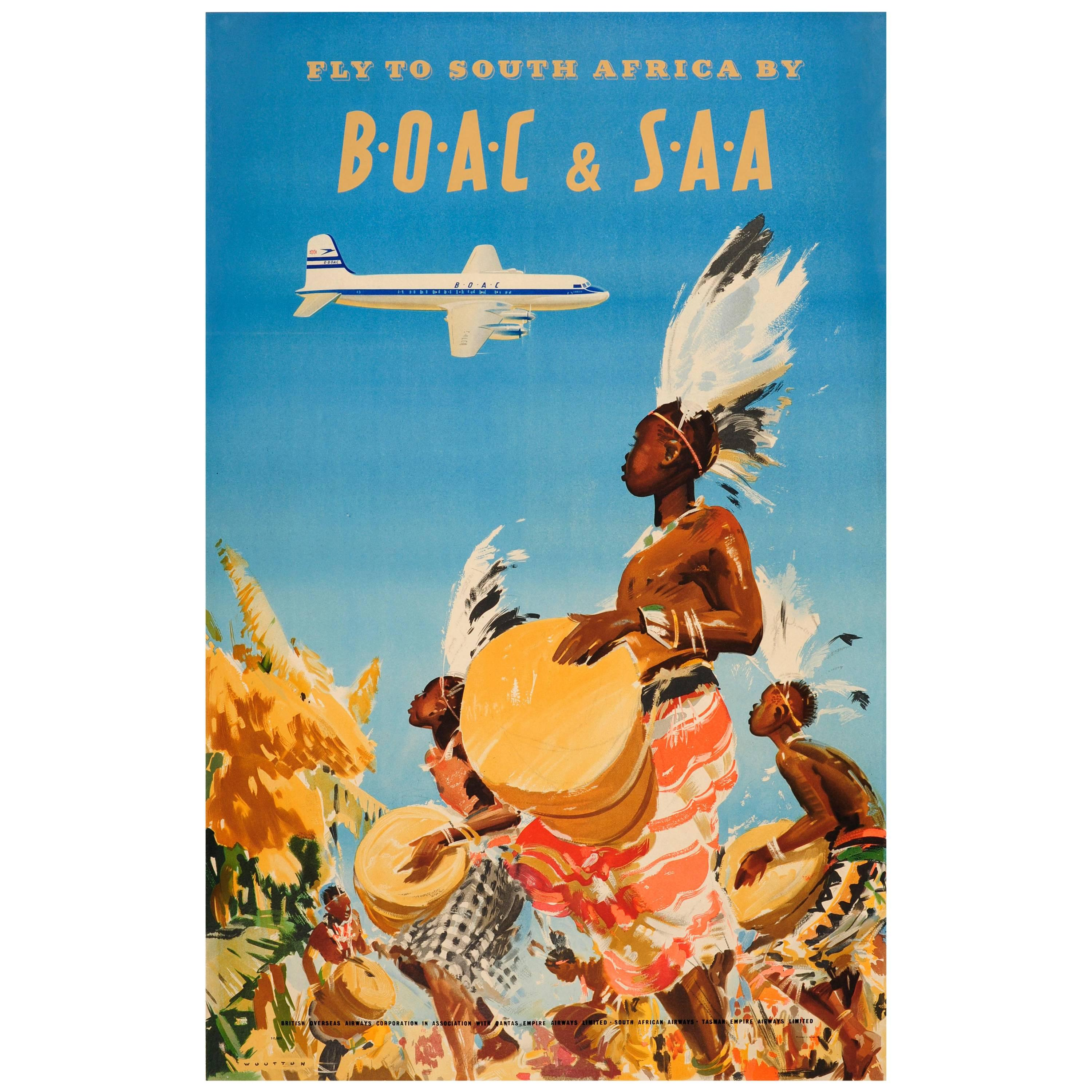 Original Vintage Travel Advertising Poster - Fly to South Africa by ...