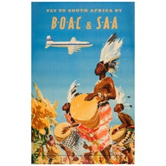 Original Vintage Airline Travel Poster - Fly To South Africa By BOAC & SAA