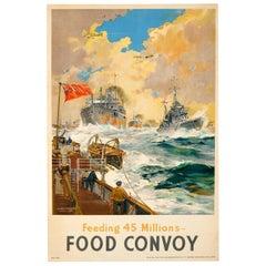 Original Vintage British WWII Propaganda Poster: Feeding 45 Millions Food Convoy