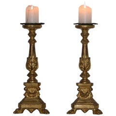 18th Century, Italian Neoclassical Giltwood Candlesticks