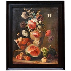 Italian Oil on Canvas Still Life of Flowers and Fruit, circa 1880