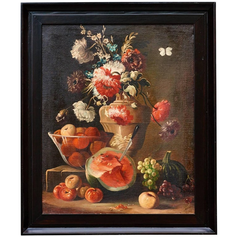 Italian Oil On Canvas Still Life Of Flowers And Fruit Circa 1880 For Sale