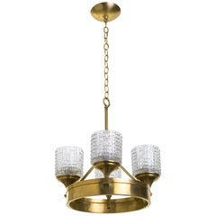 Pressed Glass and Brass German Chandelier