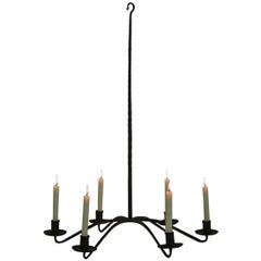 French 18th Century Hand-Forged Iron Chandelier