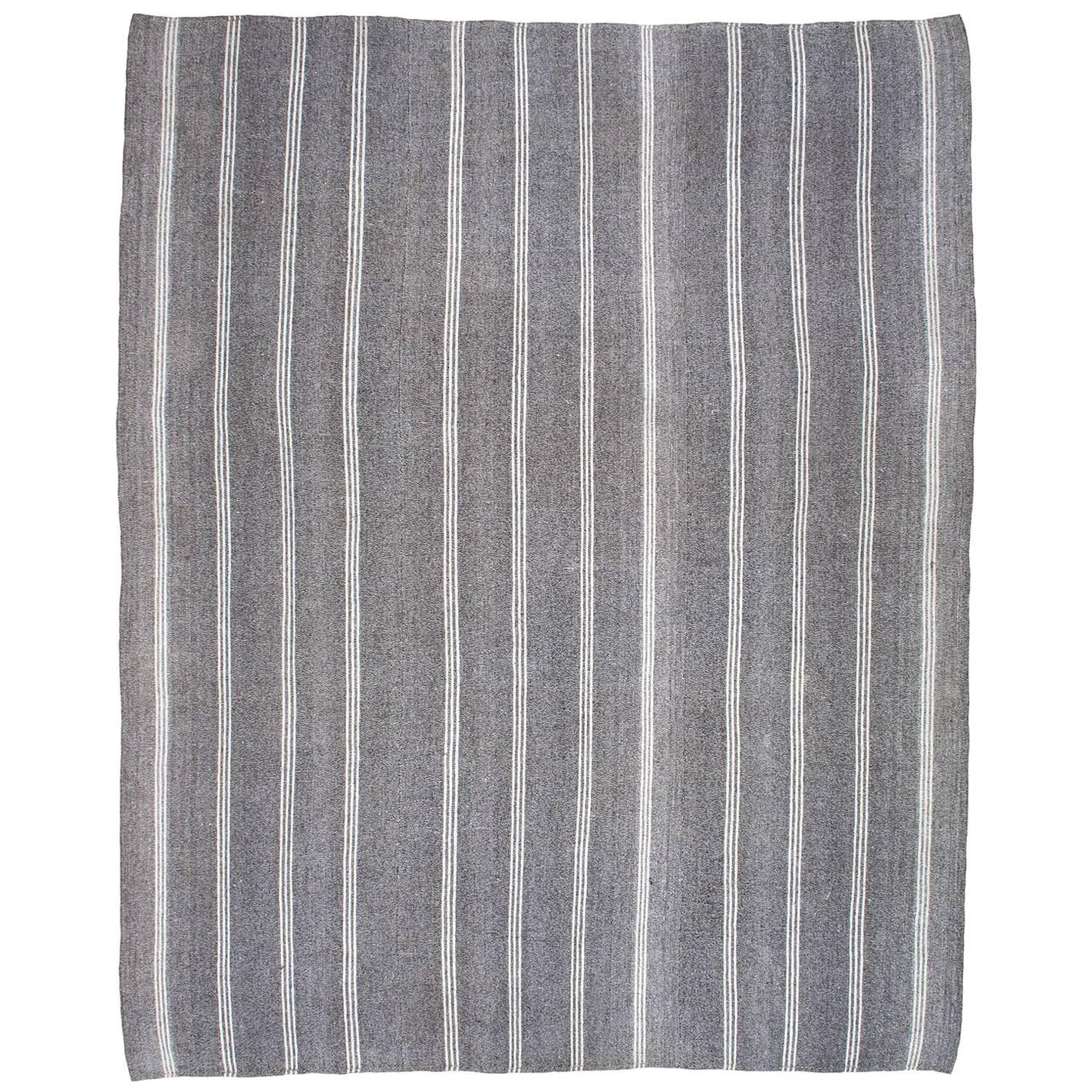Kilim With Vertical Stripes In White Cotton