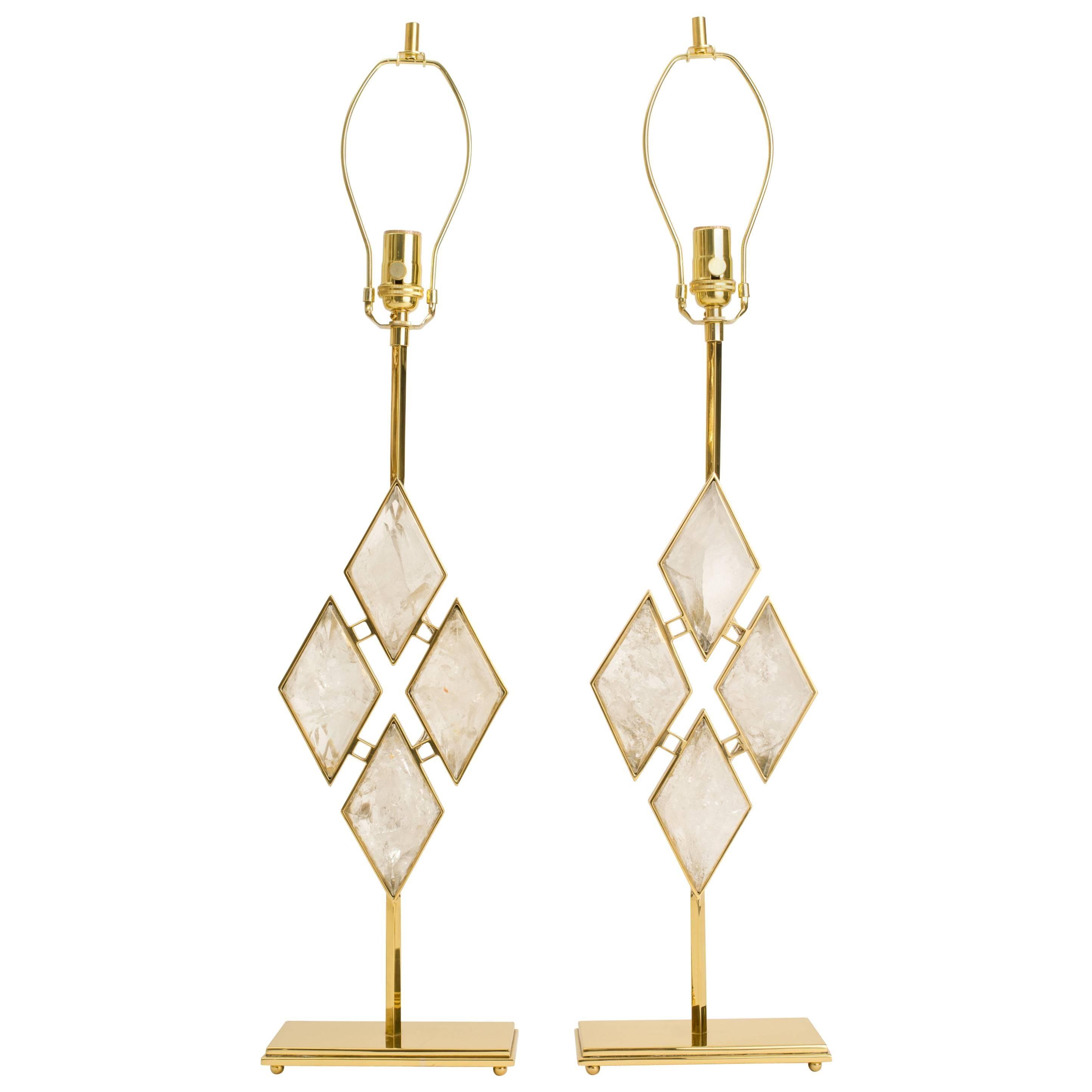 "Rock Crystal Diamond Table Lamps, Eon Collection ""Harmony"""