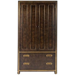 Mastercraft Burl Wood and Brass Cabinet