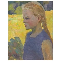Girl with Braids Portrait by Soviet Era Artist Iosif Ilyin