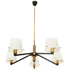 Italian Brass and Opaline Glass Ceiling Lamp