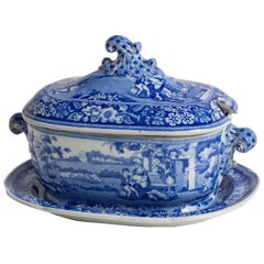 "Three-Piece Blue and White Covered Sauceboat ""The Blind Boy"", circa 1840"