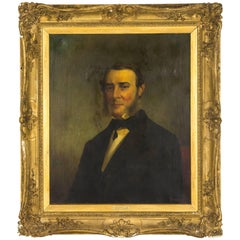 19th Century Oil Portrait Oil on Canvas, Signed Jacob Hart Lazarus