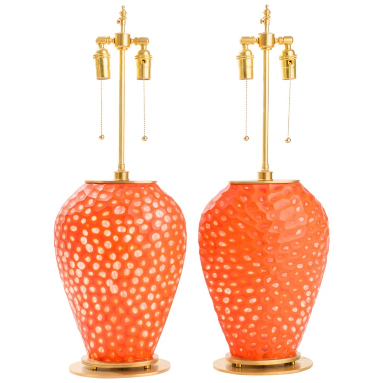Pair of Orange Art Glass Table Lamps