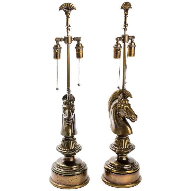 Cast Metal Horse Table Lamps