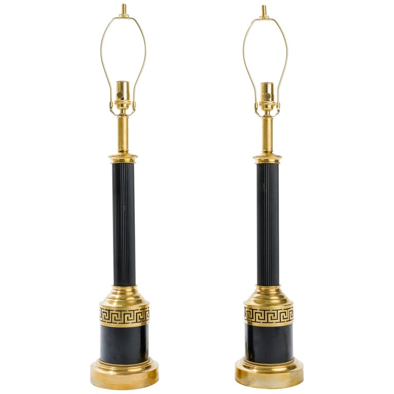 Greek Key Brass Column Table Lamps