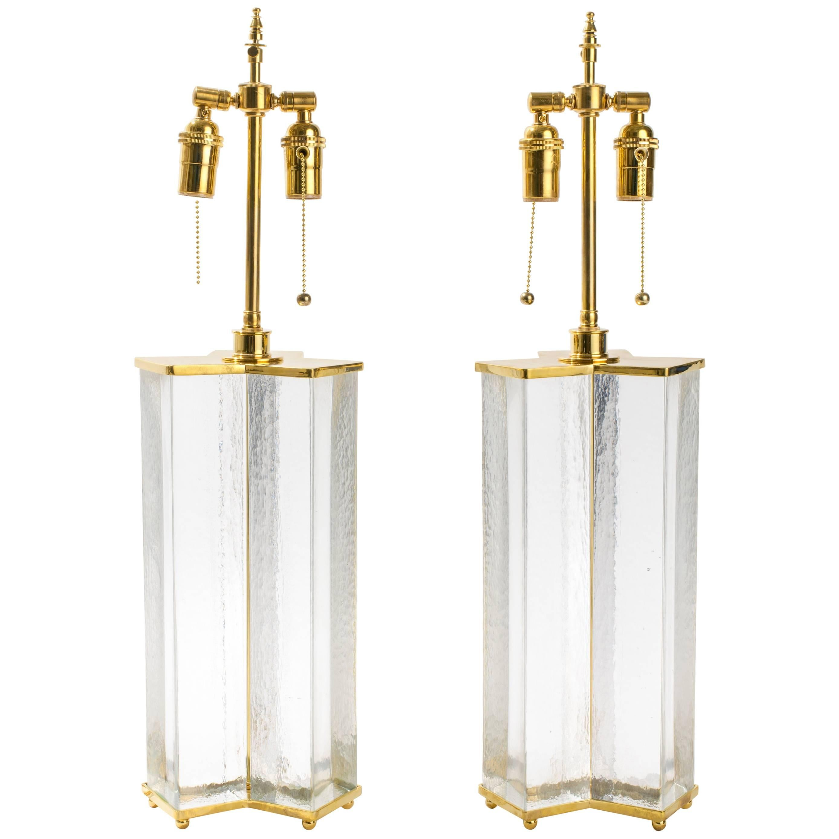 Cast Textured Glass Column Table Lamps