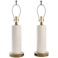 Pair of White Ceramic Lamps