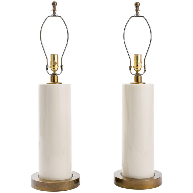 Pair of White Ceramic Lamps For Sale