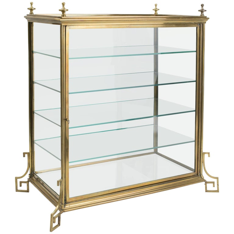 Display Kitchen Cabinets For Sale: Italian Brass And Glass Display Cabinet For Sale At 1stdibs