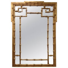 Italian Carved Wood Faux Bamboo Wall Mirror
