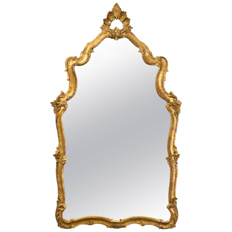 Antique Italian Giltwood Mirror For Sale