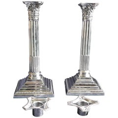 Pair of Classical Corinthian Column Silver Candlesticks Edwardian, 1910