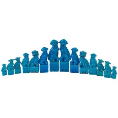 Collection of 14 Graduating Turquoise Chinese Export Foo Dogs