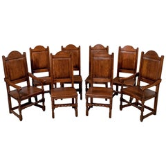 Set of Eight Oak Dining Chairs Edwardian Jacobean Revival Inc Carvers circa 1910