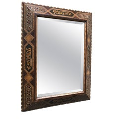 Early 1900 Mirror in a Hand-Crafted & Inlaid Moorish Arab Wooden Frame with Text