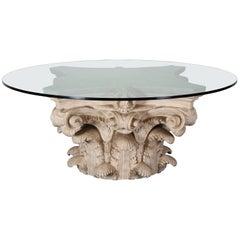 Corinthian Capital Classical Roman Fiberglass Dining Table, 1980s
