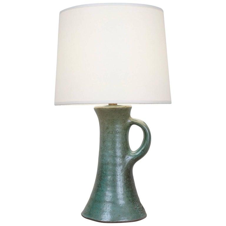 20th Century J&N Pierlot Green Ceramic Table Lamp