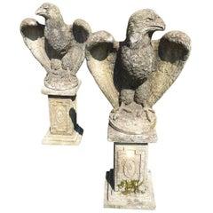 Impressive Pair of Cement Eagles on Pedestals