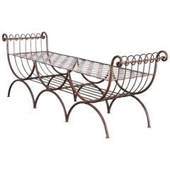 Italian Hollywood Regency Iron Triple Seat Bench, 1960