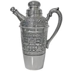 Silver Cocktail Shaker, Aztec Design, South American, circa 1930