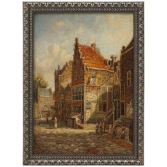 Turn of the Century Small German Oil Painting on Panel of a Village Scene