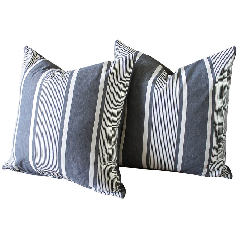 Antique French Ticking Accent Pillows in Coal For Sale