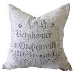 Original Antique Printed German Feed Sack Pillow