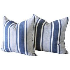 Antique Indigo French Ticking Pillows