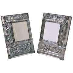 Pair of Art Nouveau Large Silver Plate Photograph Frames, Germany, circa 1900